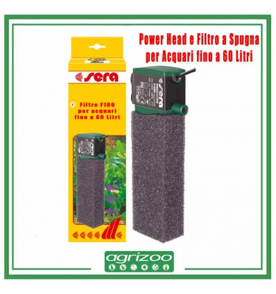 Sera Filtro interno a spugna con Power Head F180 acquari fino a 60 Litri
